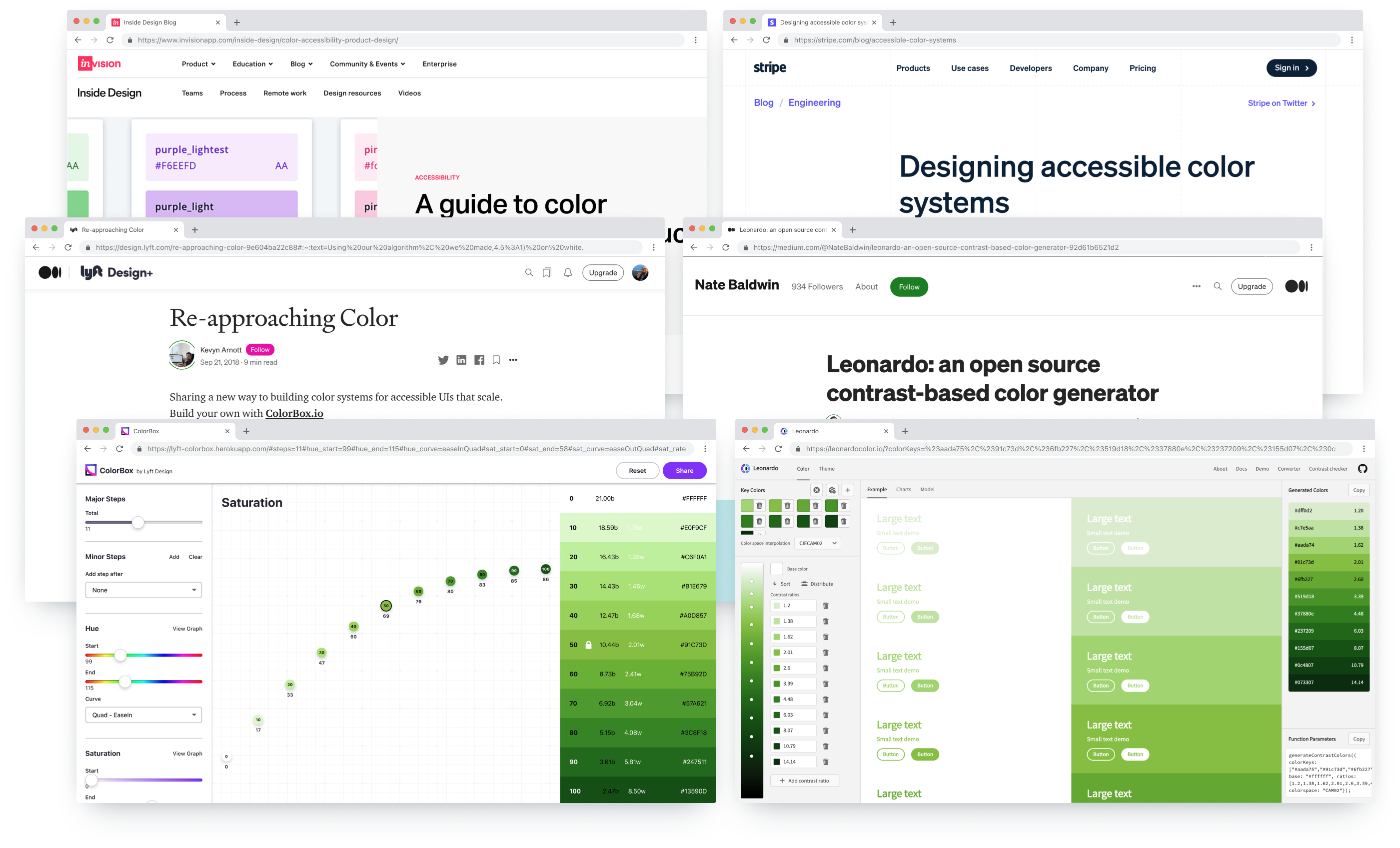 Inspiration and tools used to create Gravity's palette; Adobe Leonardo, Lyft ColorBox, InVision's A guide to color accessibility in product design, Stripe's Designing accessible color systems.