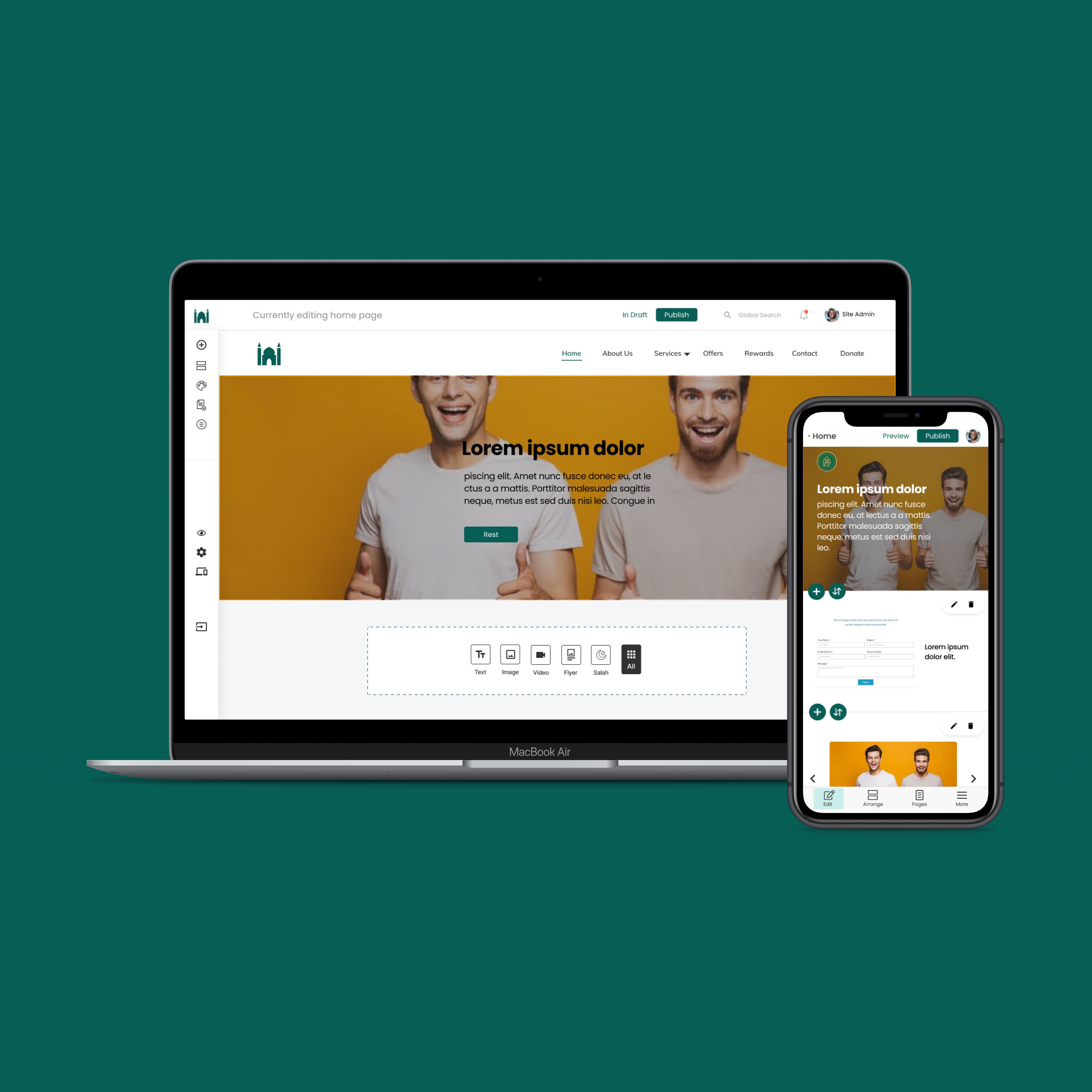 Musalleen CMS-Responsive Website Builder for Non-Profits