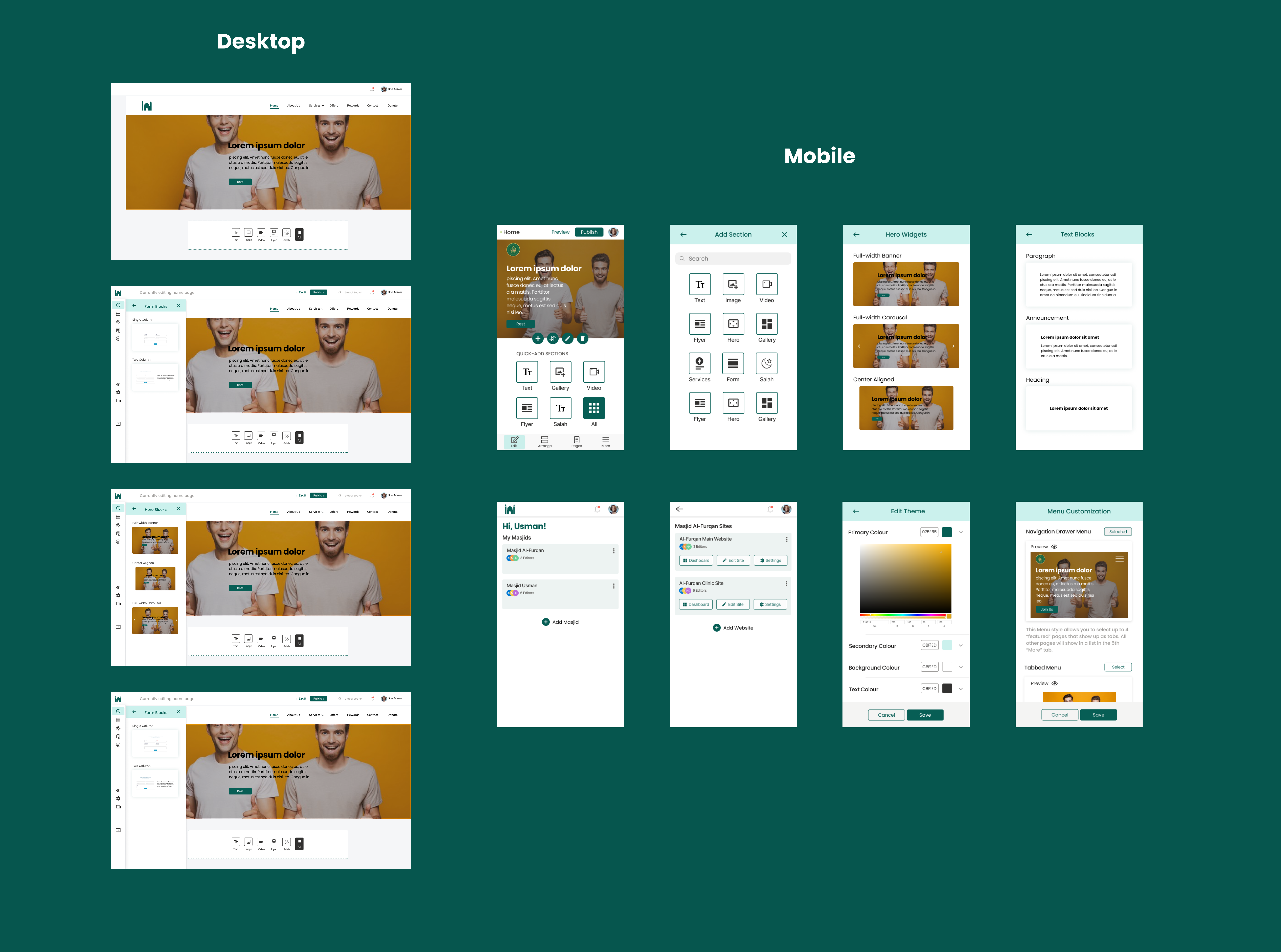 Some mobile & desktop designs that are currently being iterated on