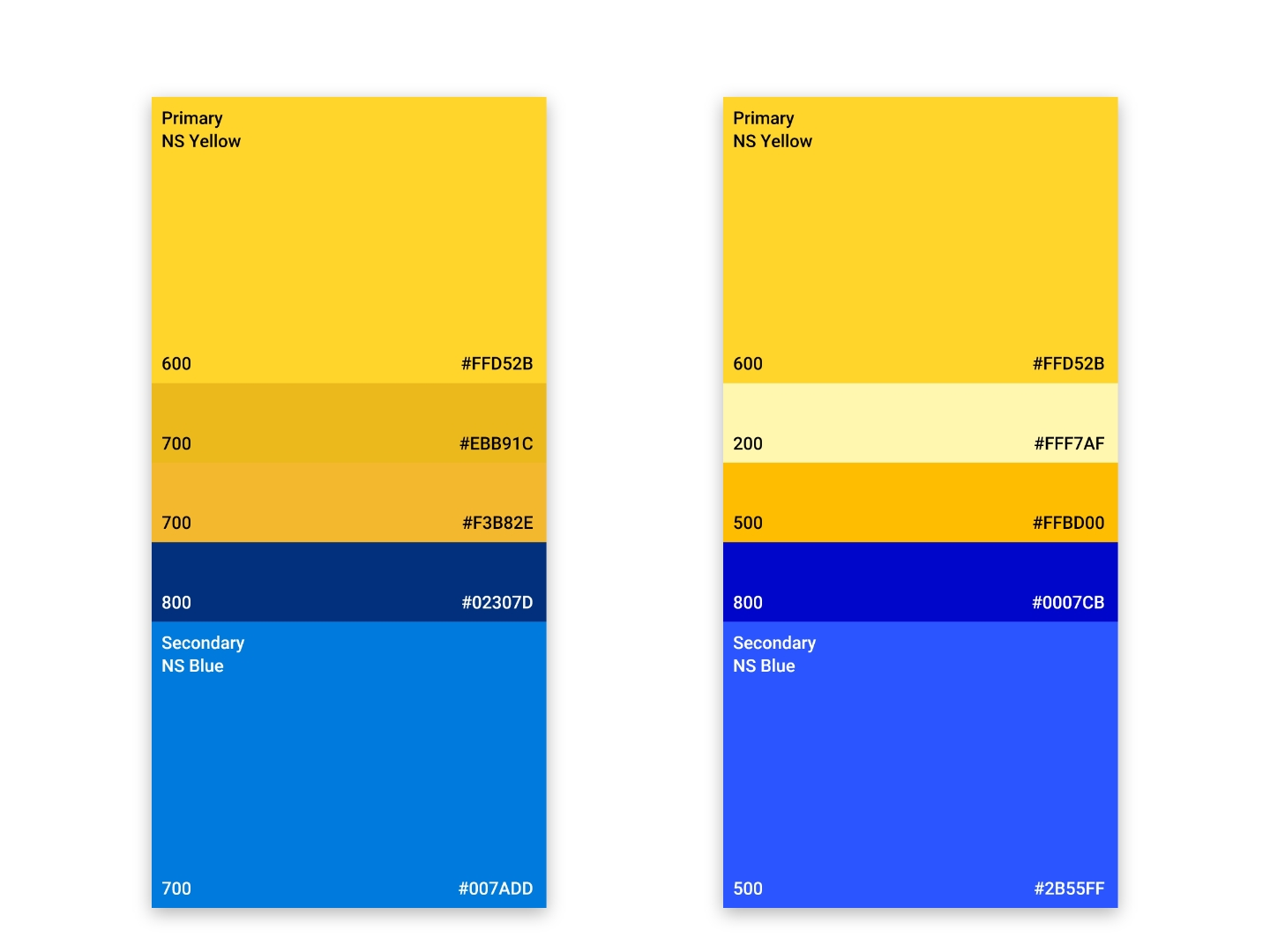 The old color palette on the left compared to the proposed one on the right.