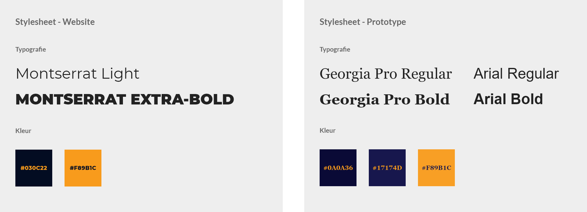 Left: the Lachende Javaan website stylesheet. Right: the proposed stylesheet for my prototype.