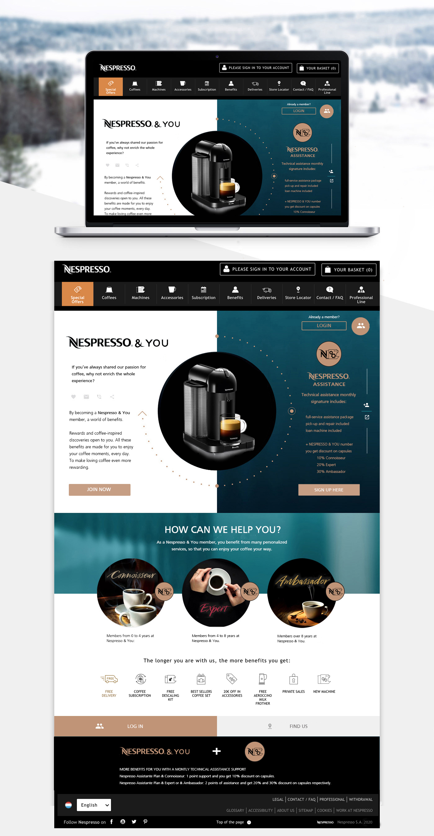 Page presenting the Nespresso Assistance Signature and the benefits within the Capsules Loyalty Program (Nespresso&YOU)