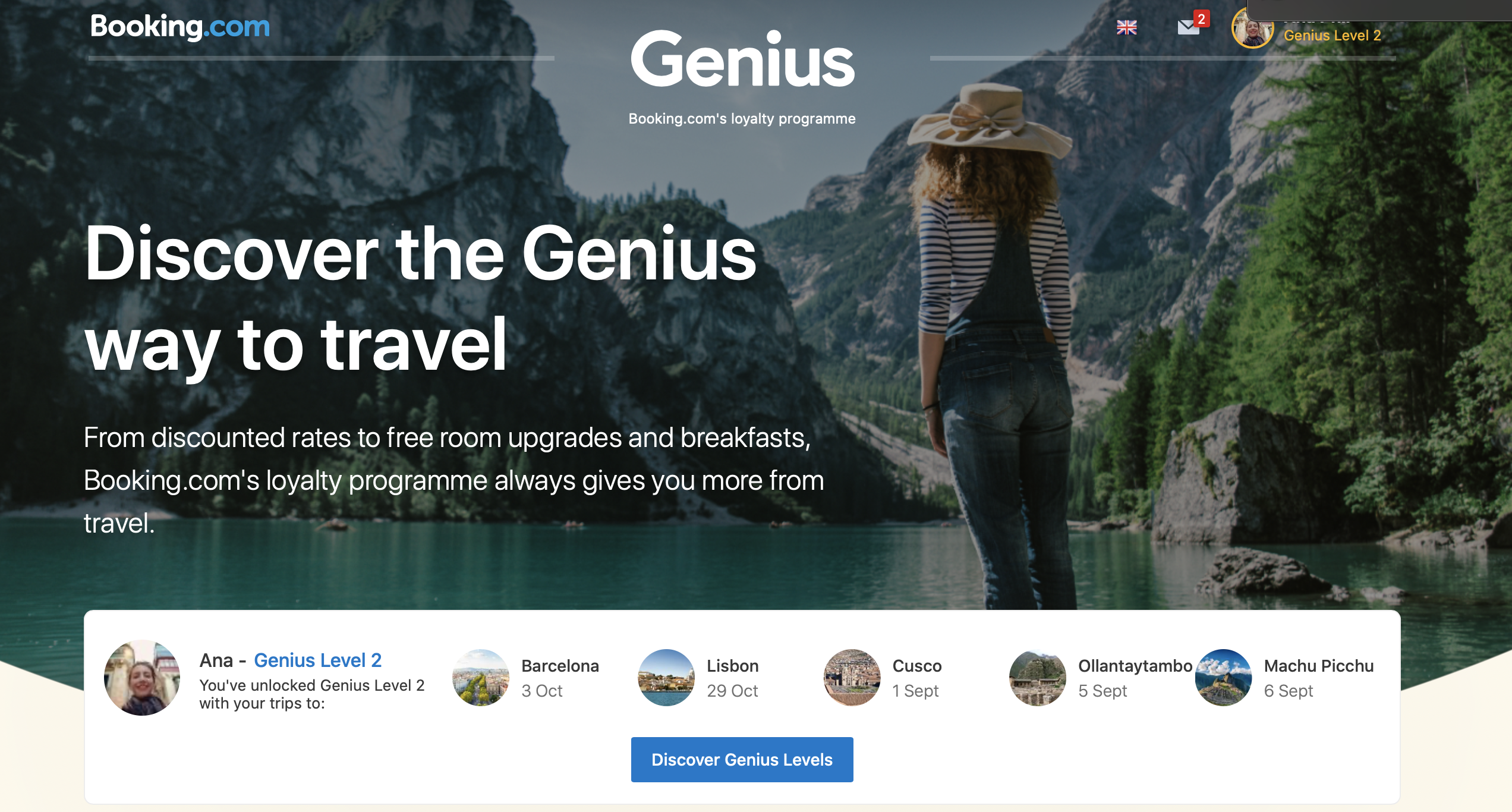Genius Levels on Booking: the more you reserve, you increase benefits