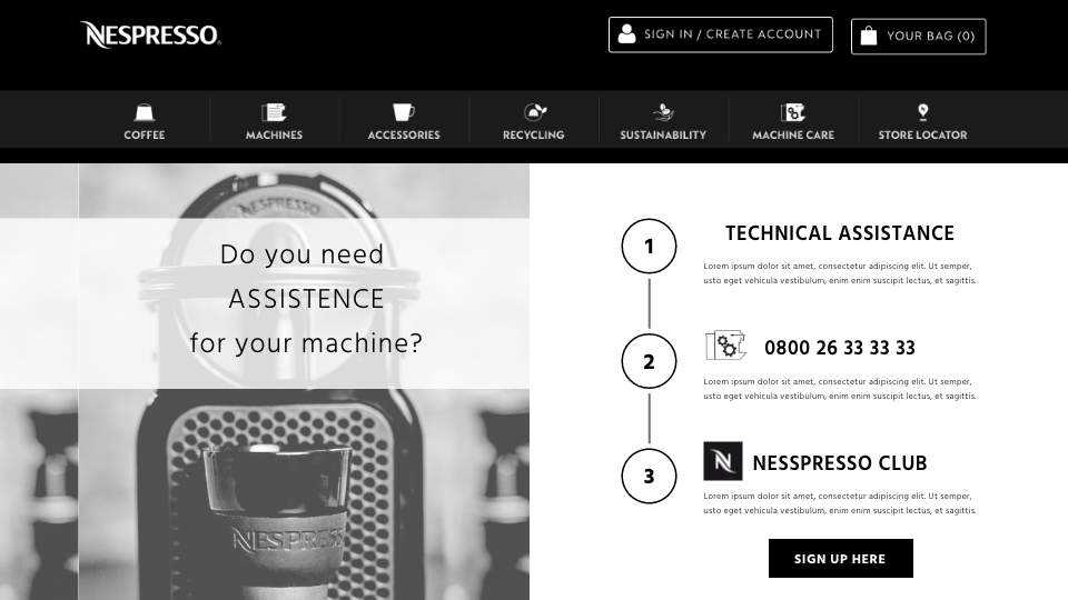 Firsts tests: Simplify the first page of technical assistance with 3 steps and CAT Nespresso & YOU - test one