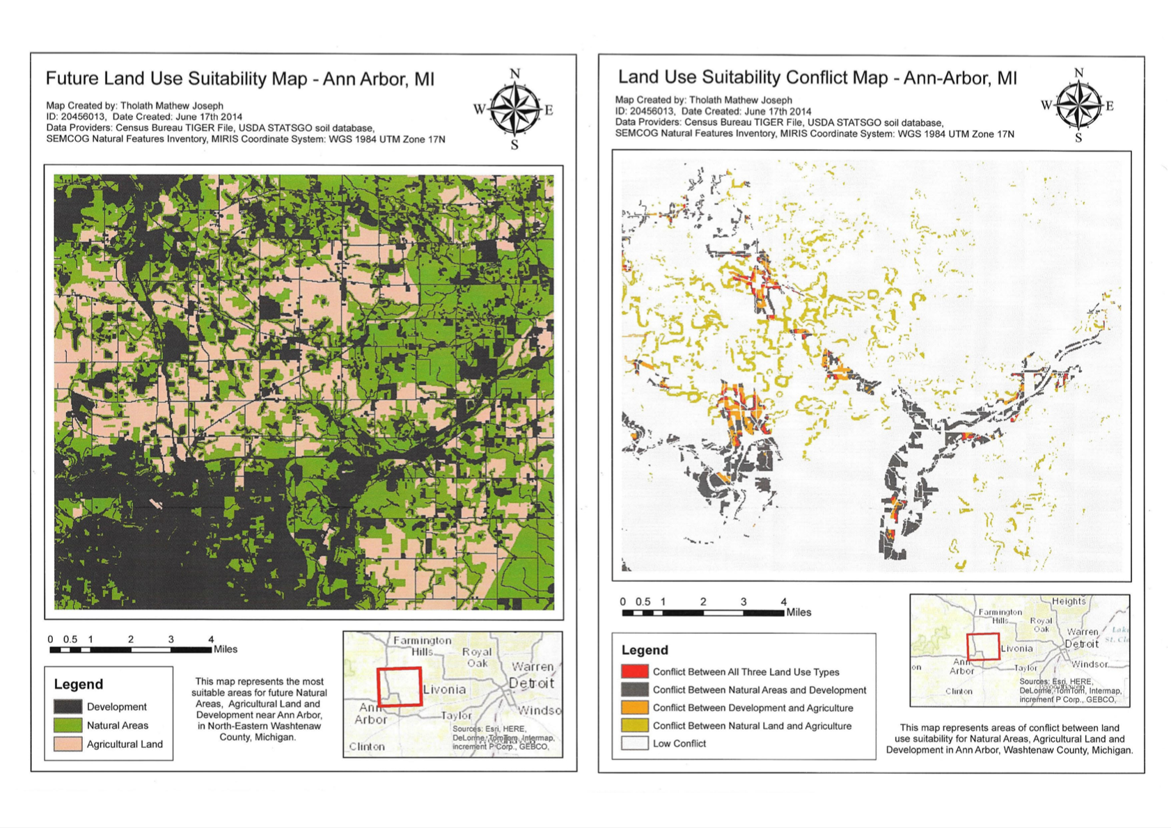 Left: Suitability Map using the Highest Point Method,  Right: Conflict map for the 3 land use types