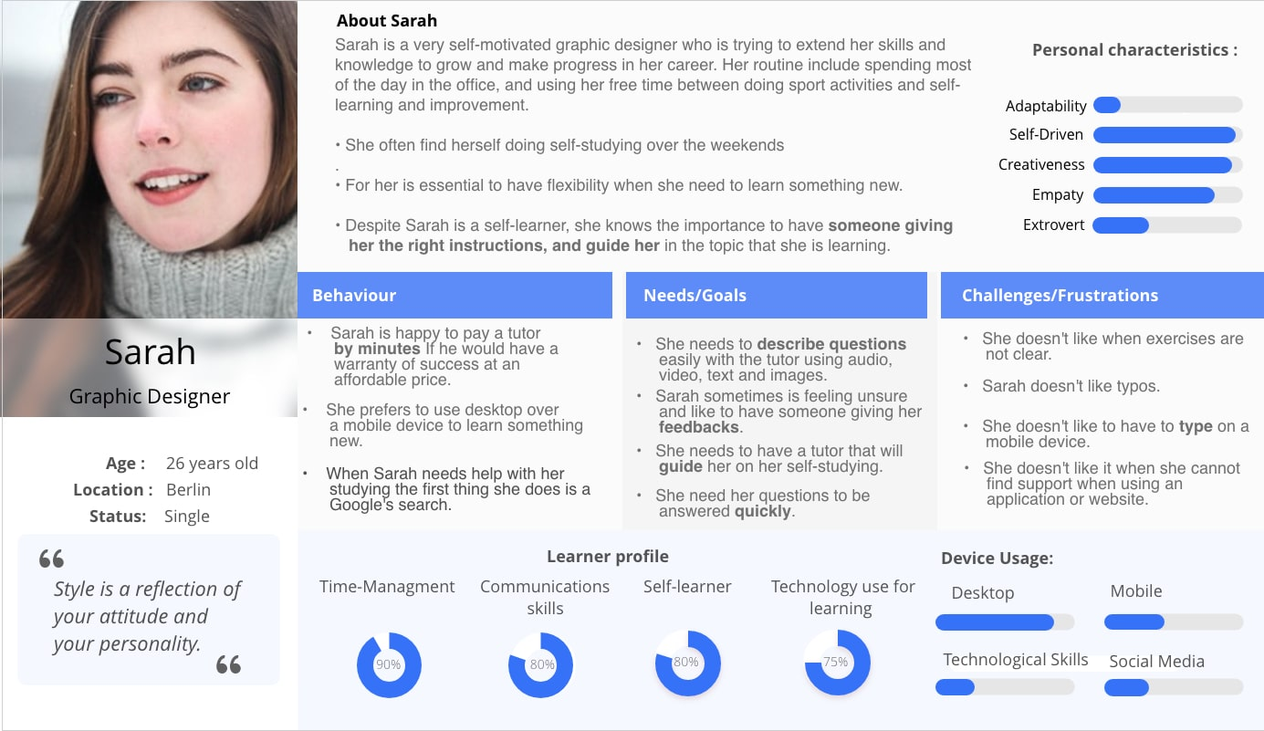 To define our user furthermore, I created user personas to give to my research a human face, a narrative, and make it more memorable and relatable.
