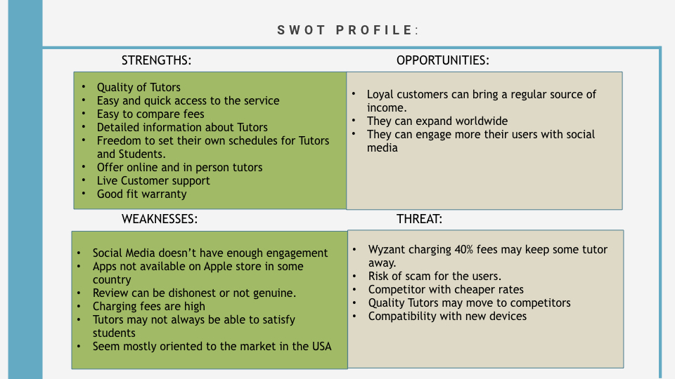 A SWOT profile was created for each identified competitor.