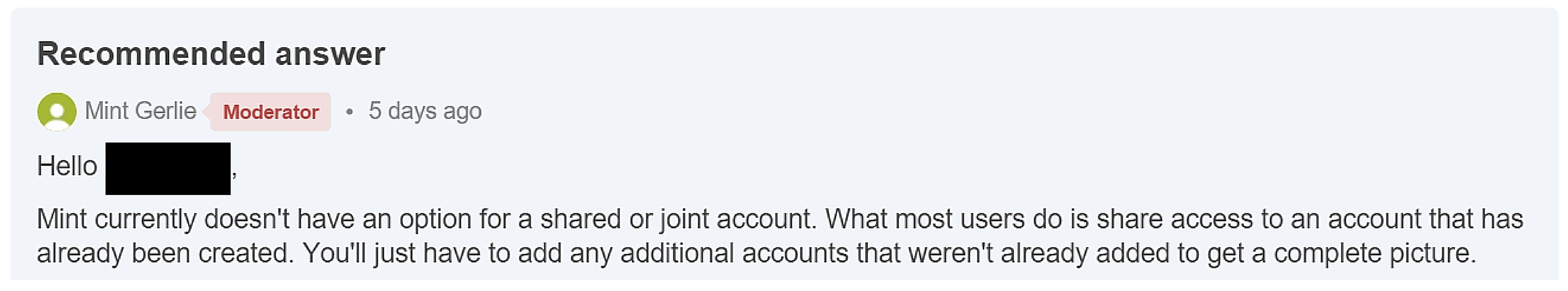 A Moderator on Mint's help forums confirming that Mint is currently targeting personal finance. (Source: Sage couple).
