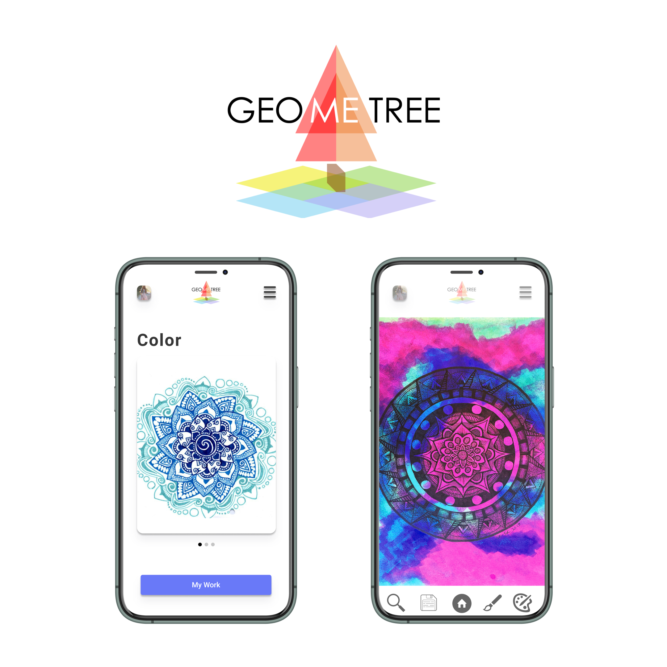 GEOMETREE: Coloring relaxation app