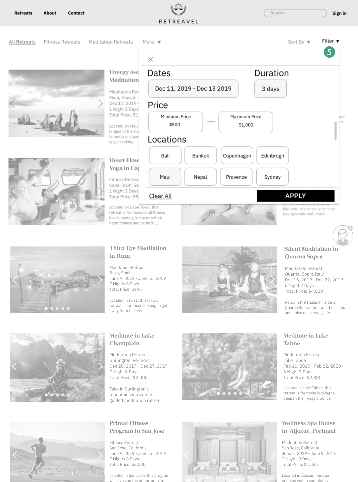 All Retreats page(scroll on image)