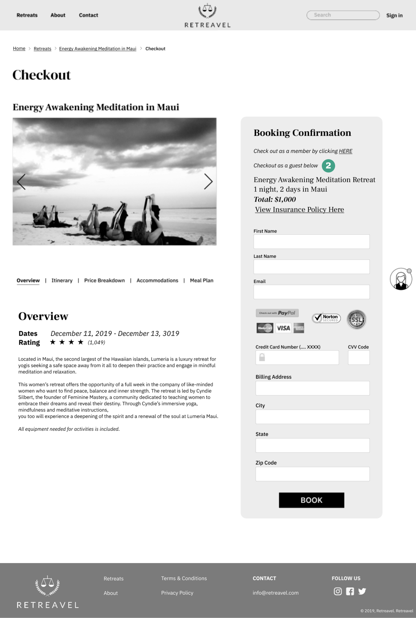Booking Confirmation page (scroll on image)