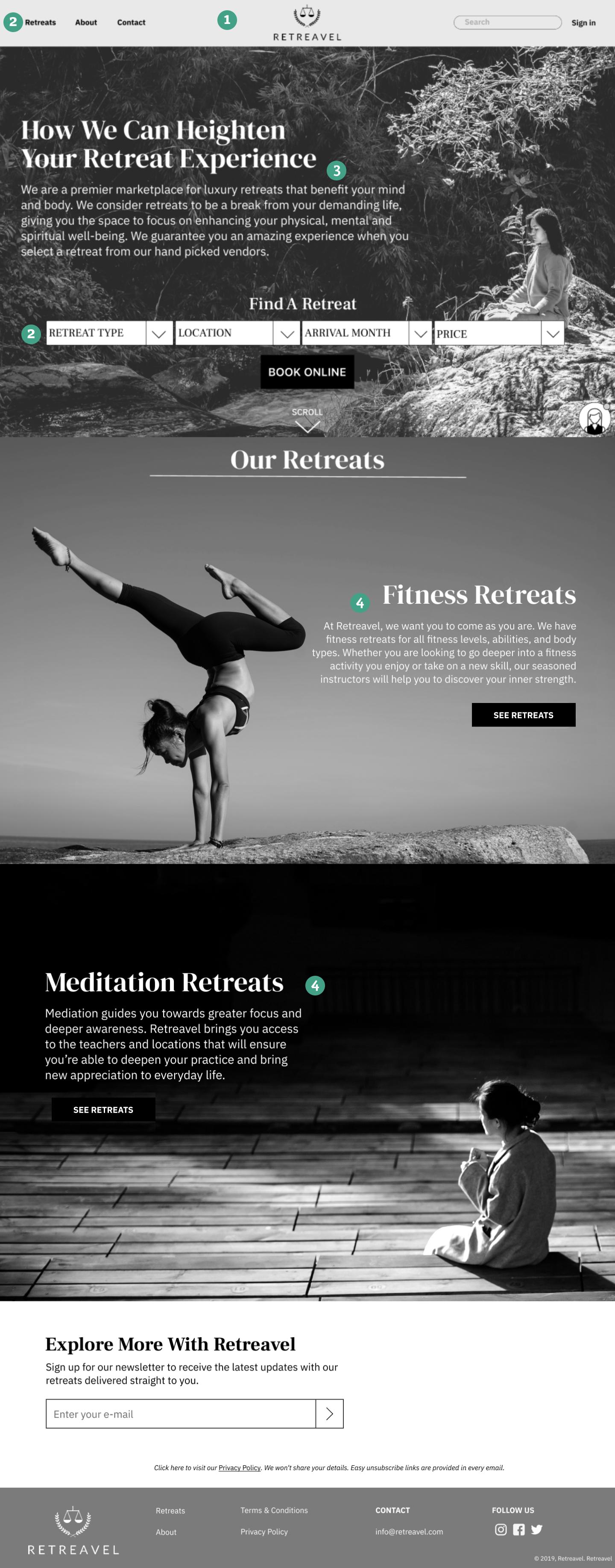 Retreavel Homepage(scroll on image)