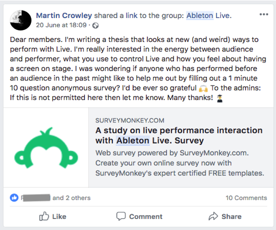Survey was shared to a Facebook Ableton user group