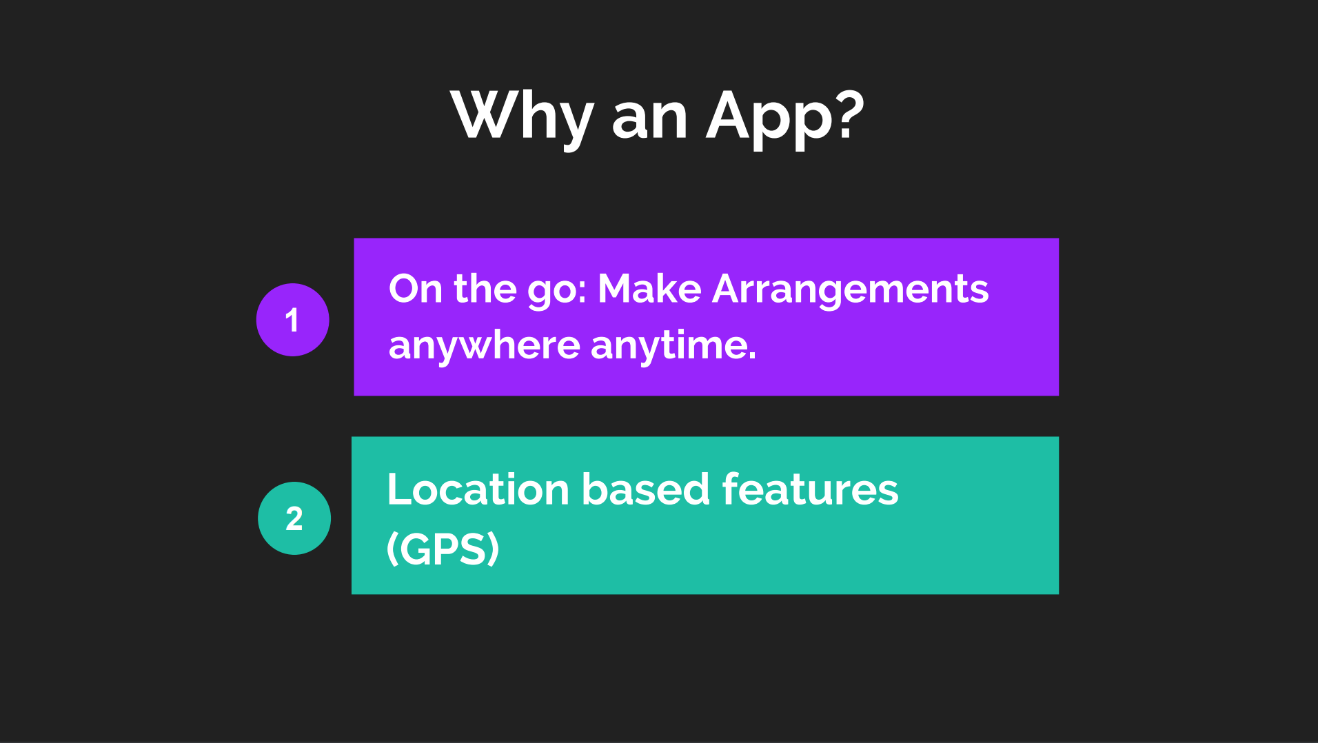 Considerations for the design of an app.