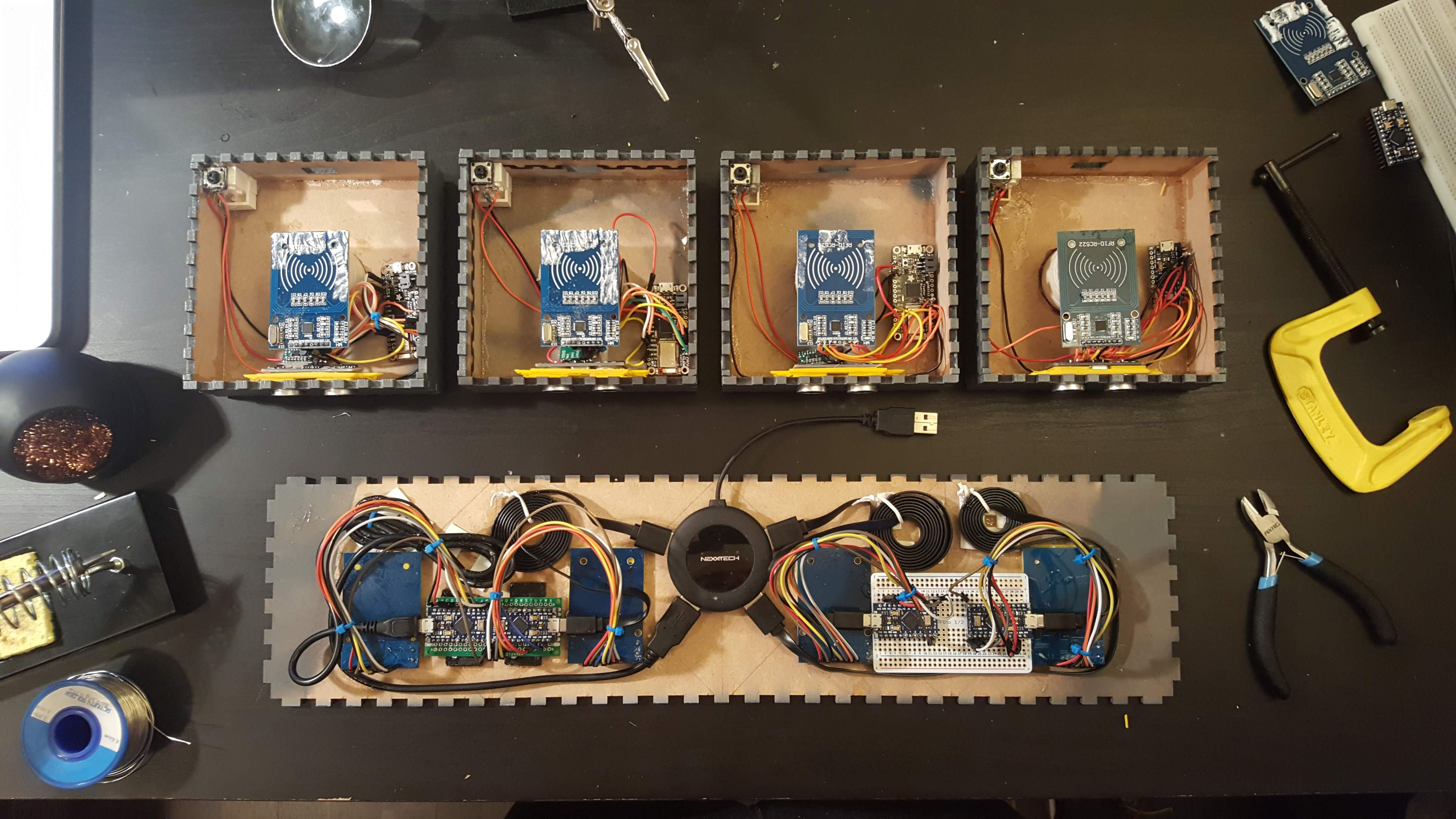 Top-down view of internal electronics