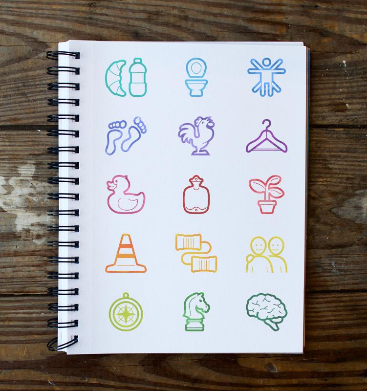 Symbolen voor de 15 basic human needs