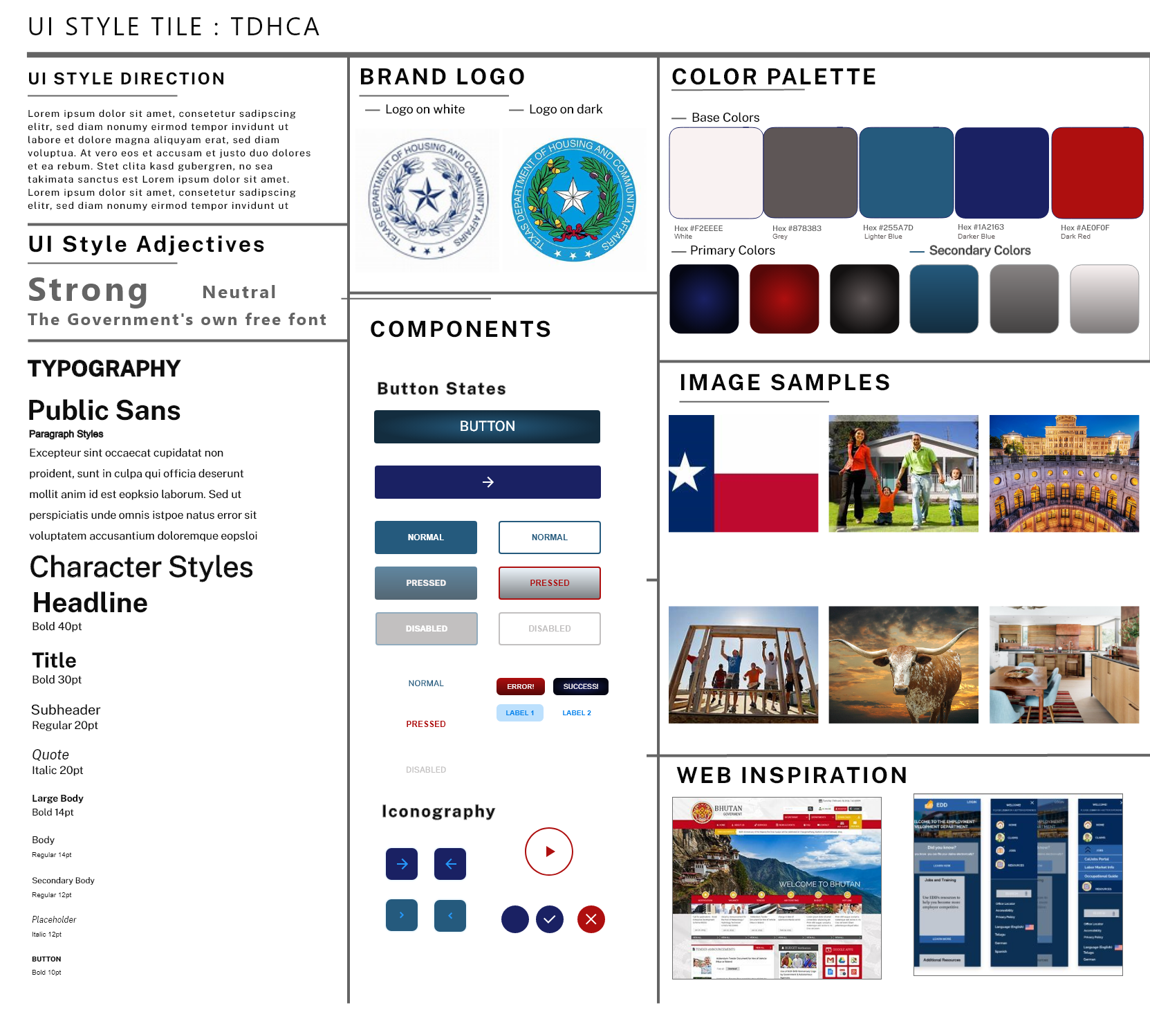 My Style Tile and Inspiration for the UI Redesign on this Project