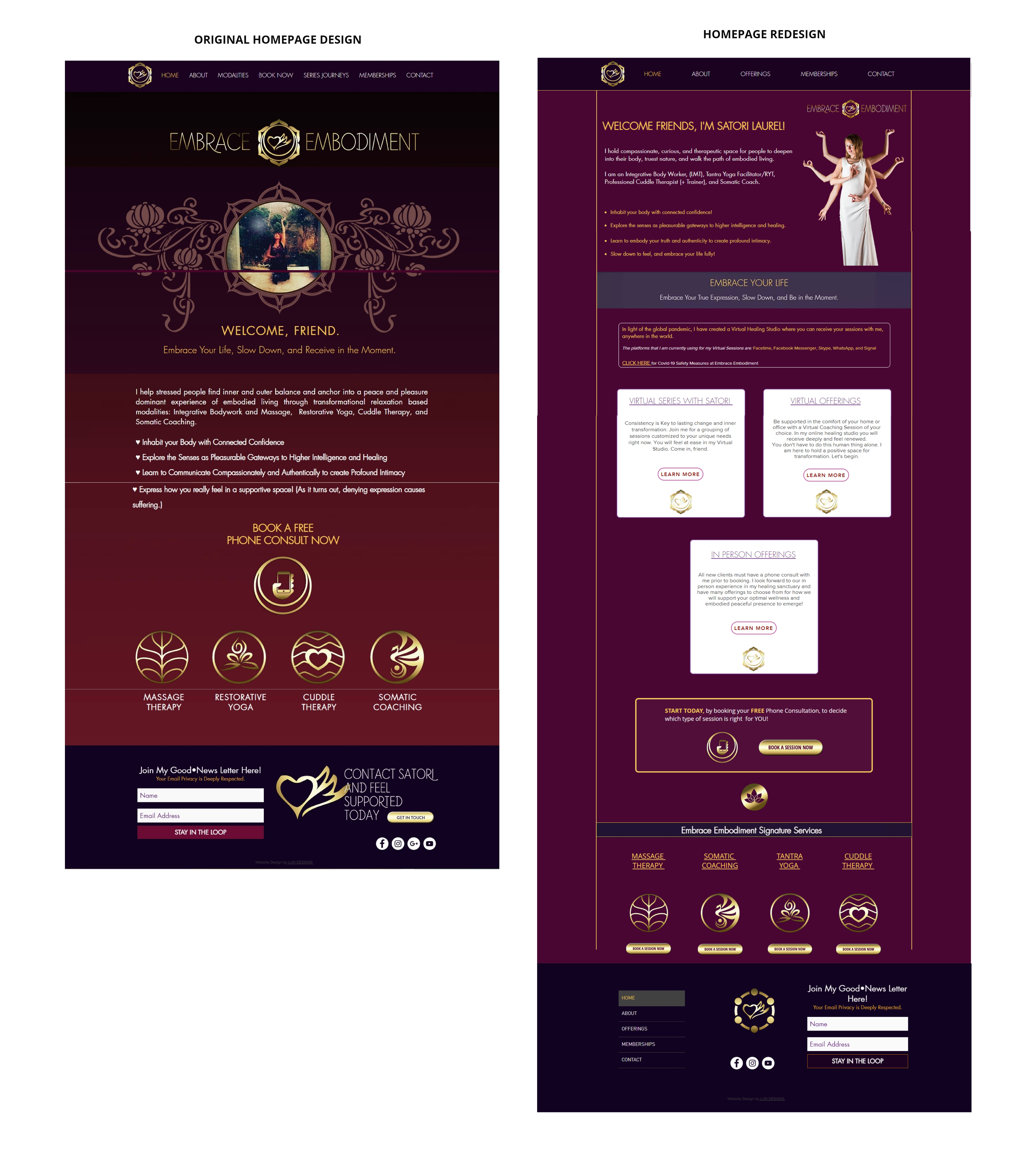 The New Homepage Utilizes a 2 column grid to allow for more information to be displayed efficiently.It Establishes a Strong Page Hierarchy and places and Emphasis on the new Virtual Services, as per the clients request during Covid-19.