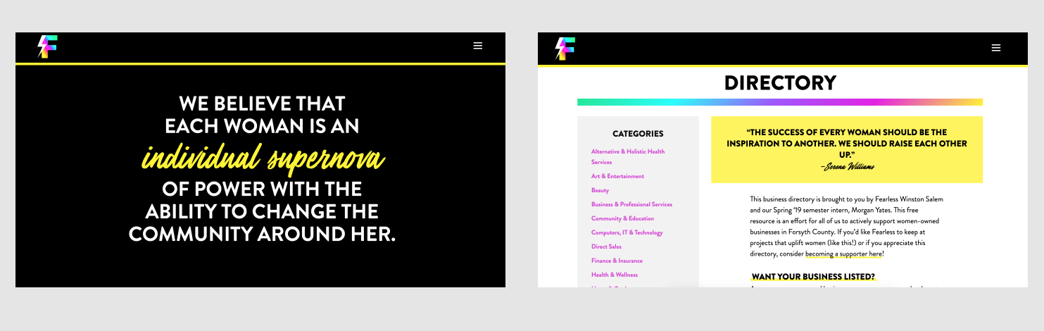 Fearless' original site and business directory. The directory was buried in the hamburger menu navigation.