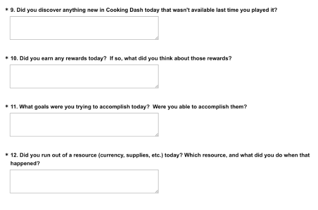Excerpt from the Cooking Dash 2.0 Diary Study daily survey