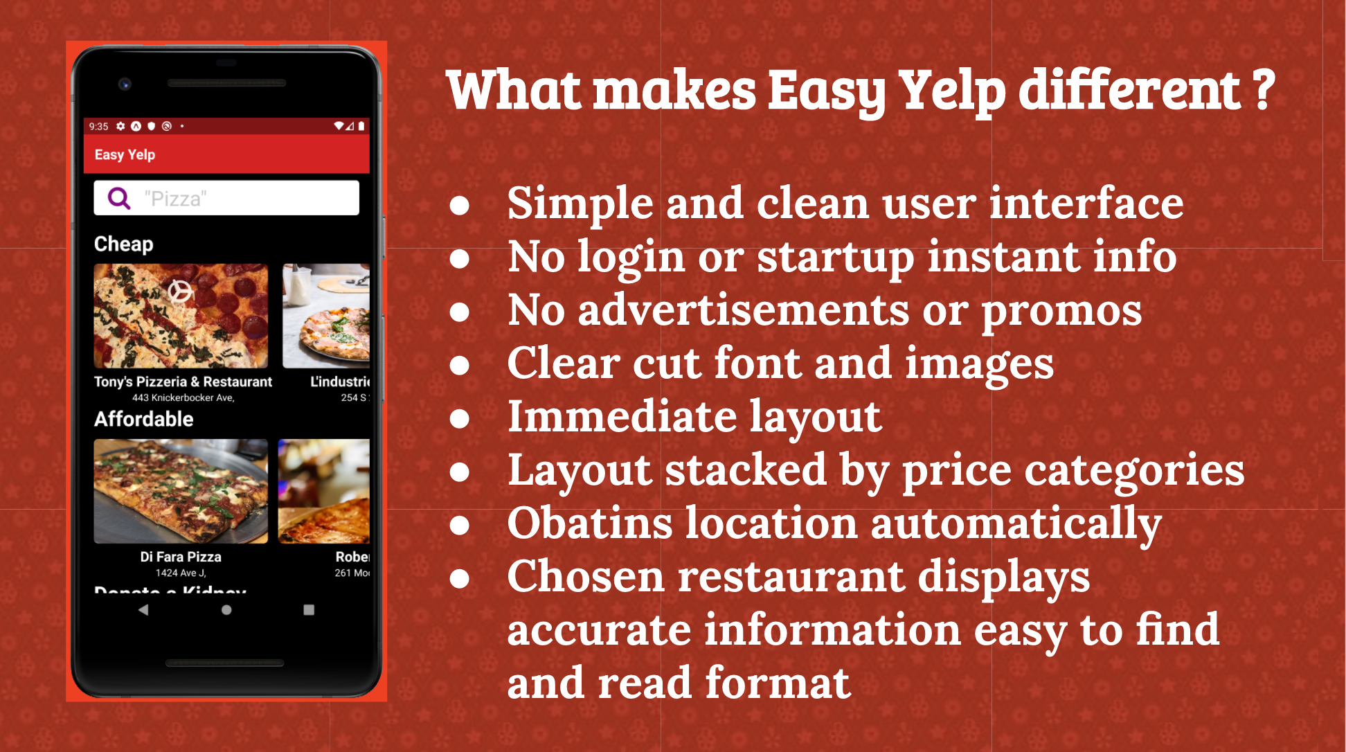 Easy Yelp Overview