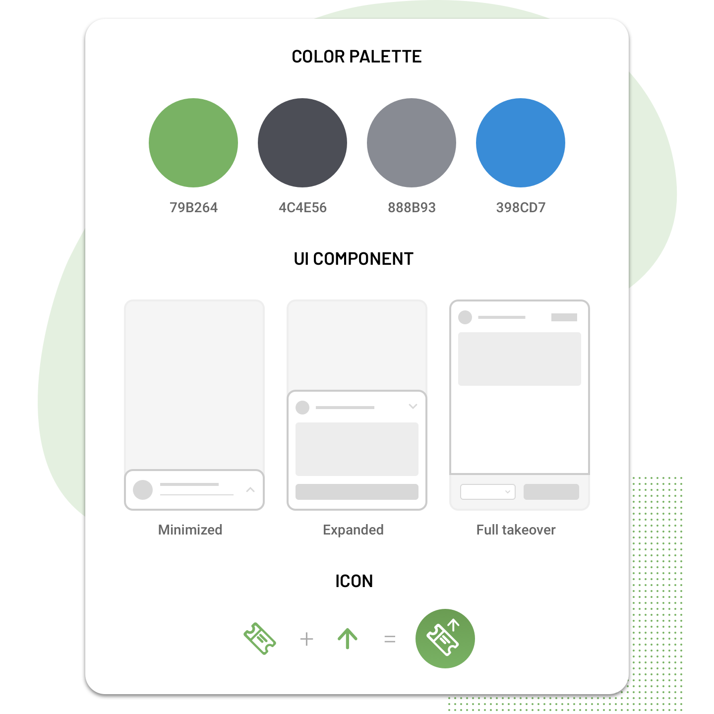 Visual Design Components: Color Palette, UI Component, and Icon