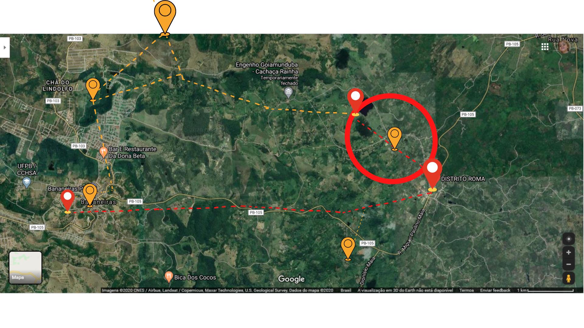 O mapa acima está disponível no Google Maps, cujos pinos de localização foram colocados para representar as localidades com casos confirmados e/ou suspeitos e estão de forma