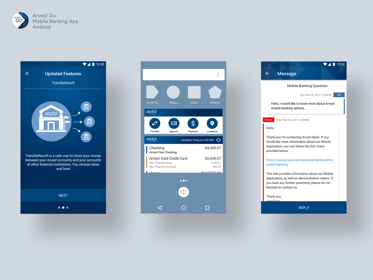Android Examples (above, left to right): Updated feature carousel w/ custom iconography, widgets for quick actions and account balance, and secure messaging