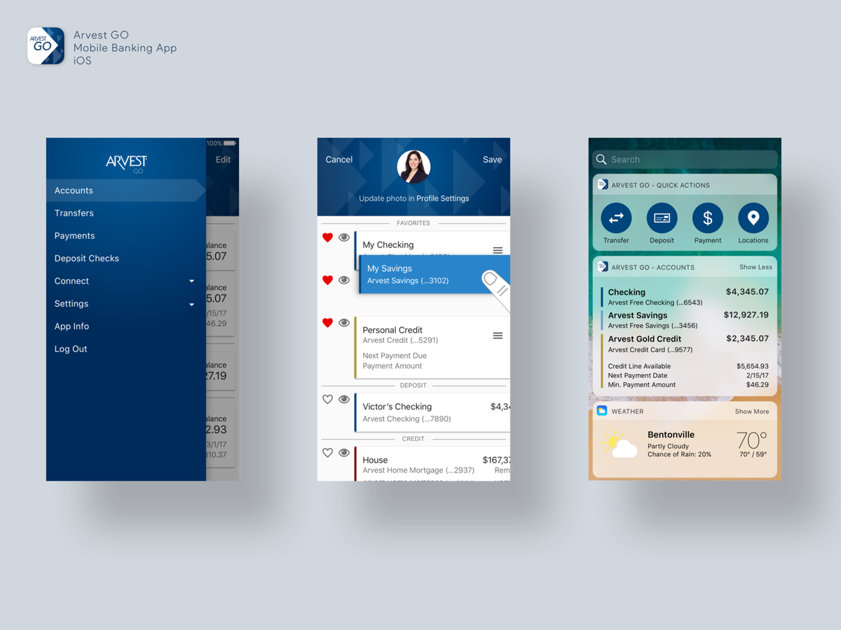 iOS Examples (above, left to right): App menu, account list customization, and widgets for quick actions and account balance