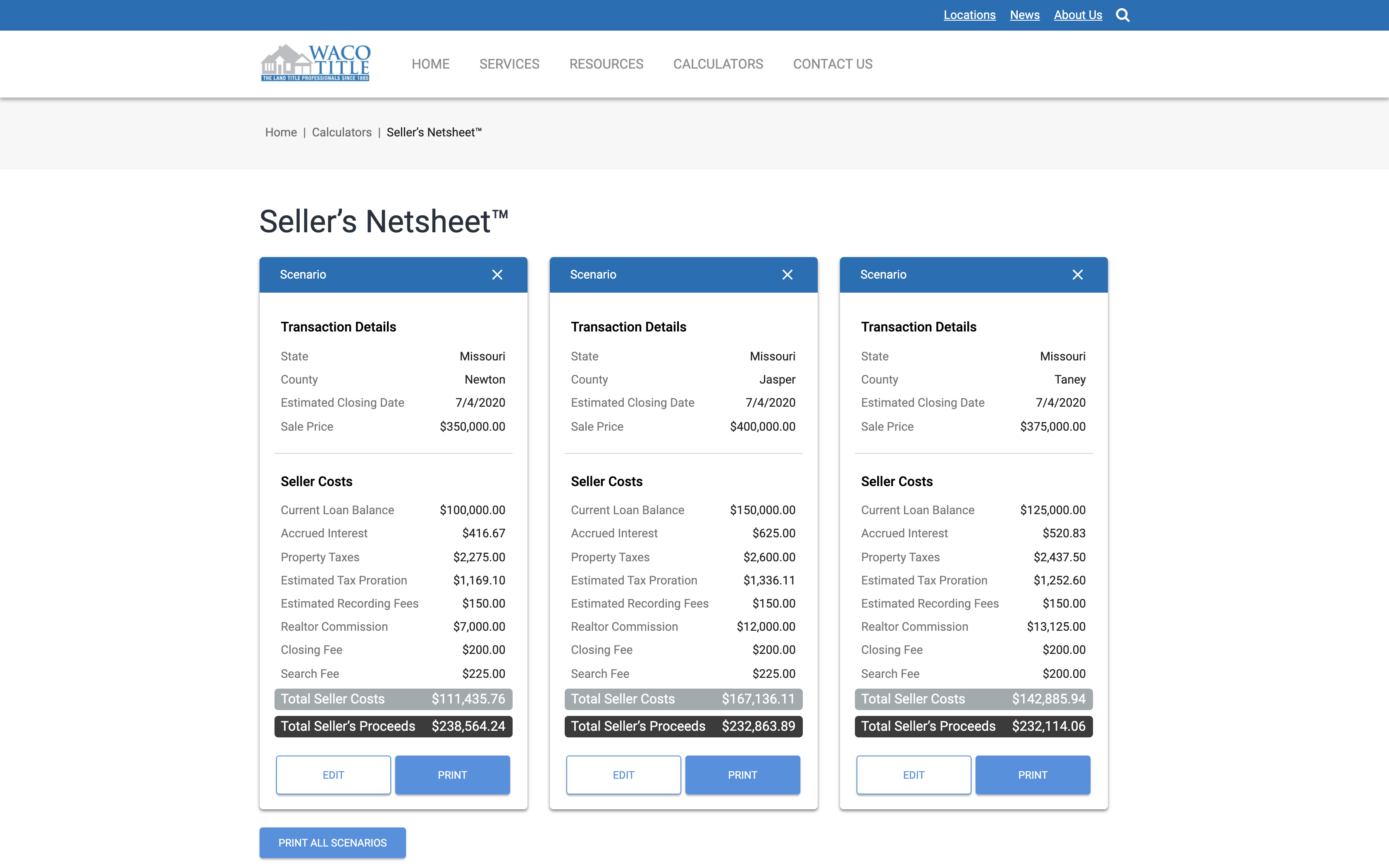 Seller's Netsheet Output - Comparison view