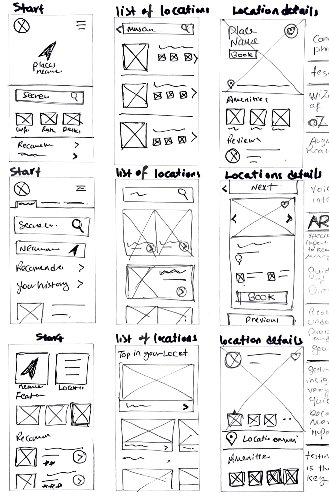 Rough sketches for Search, List and Place details screens (Crazy 8' Activity)