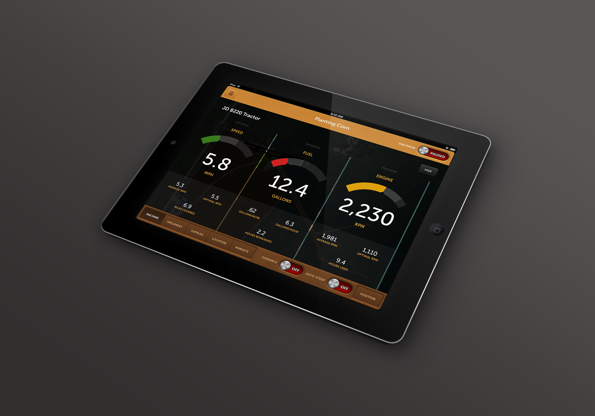 This concept was designed to represent how machine & implement controls could be handled on a consumer tablet.