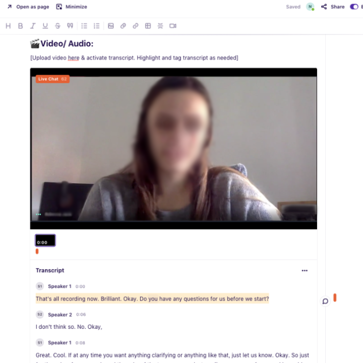 User interview videos, transcribed and tagged