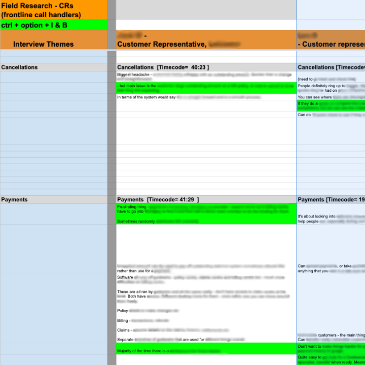 Field research notes on Google Sheets