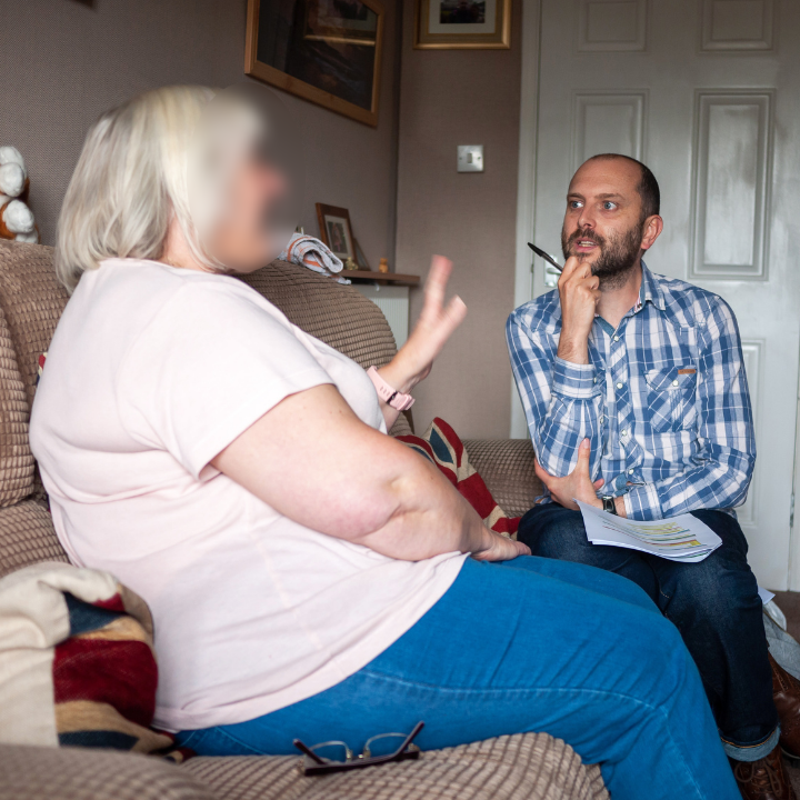 A customer interview, conducted in their home