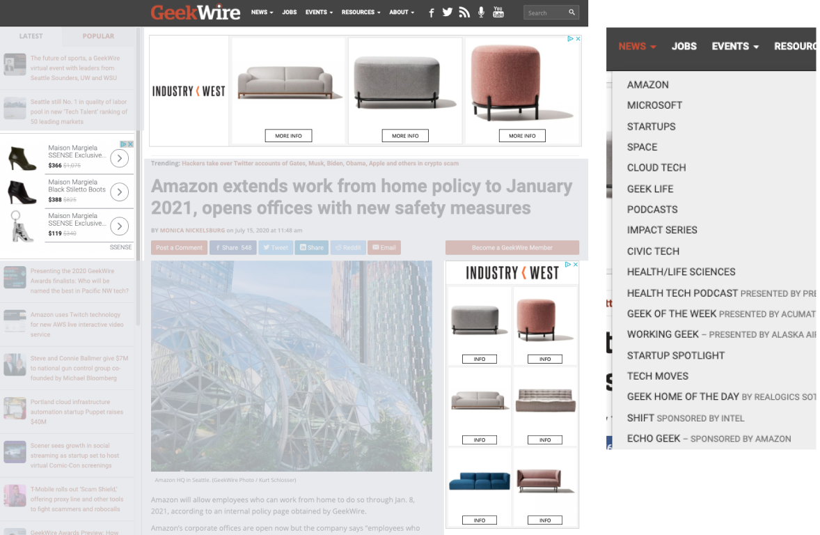 LANDING PAGE AND NEWS CATEGORY