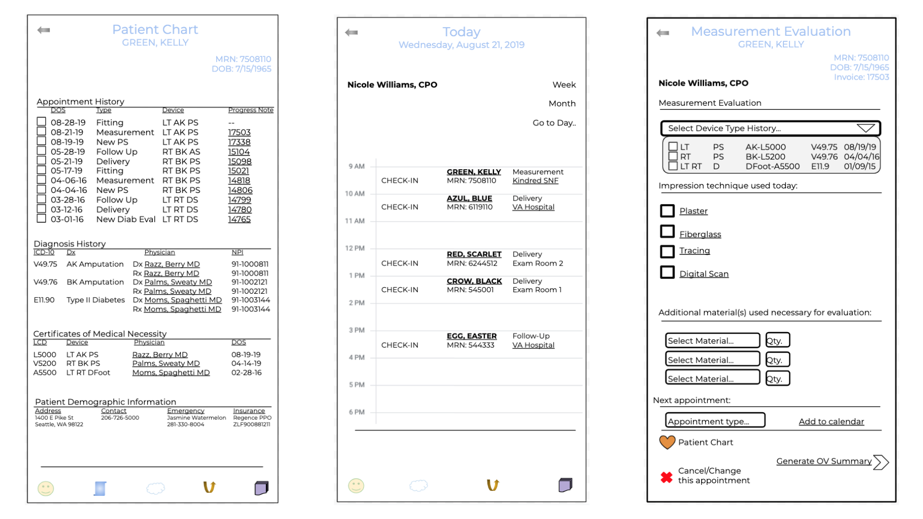 MID FIDELITY FRAMES OF PATIENT CHART AND SCHEDULING