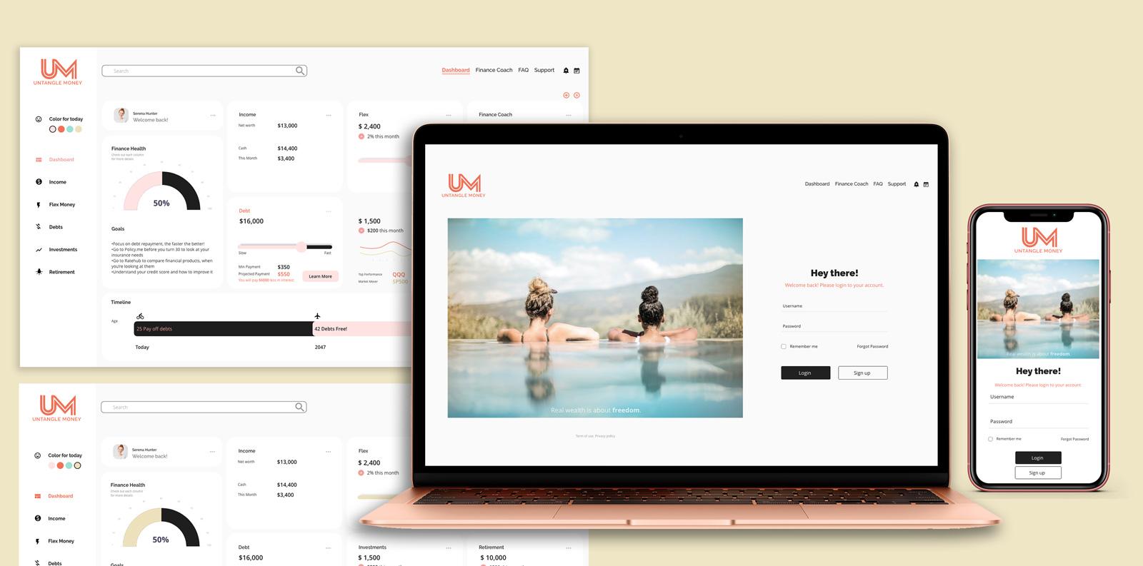 Web member portal: Untangle Money Rebranding