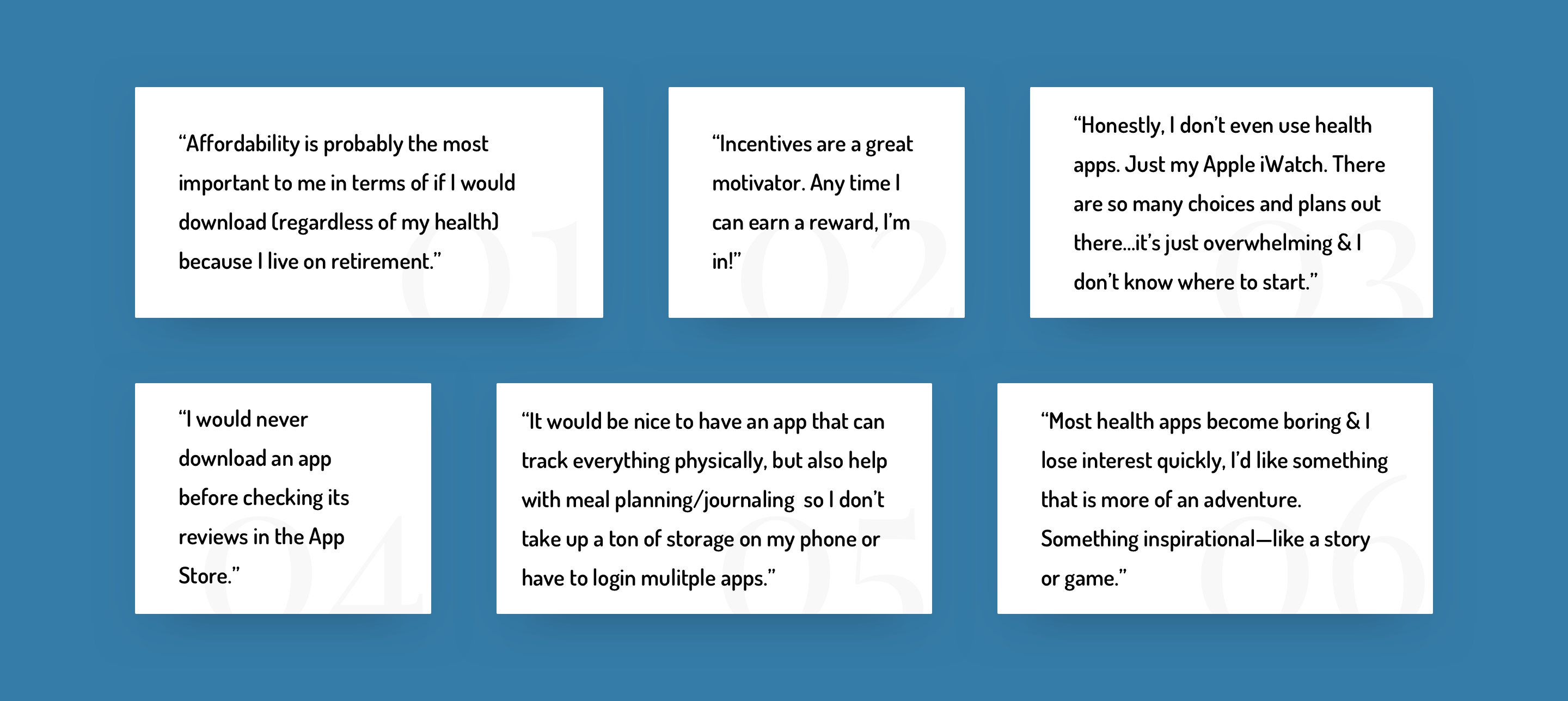 Interesting user quotes from interviews.