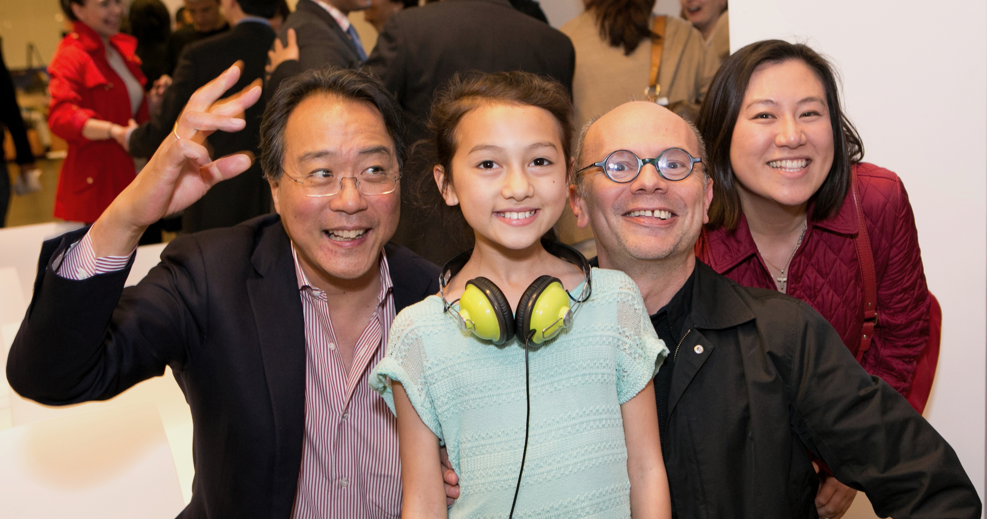 Paul Smith and his daughter, Frances, with Yo-Yo Ma (left) and co-founder Ann Shen (right) at Harvard Innovation Lab.