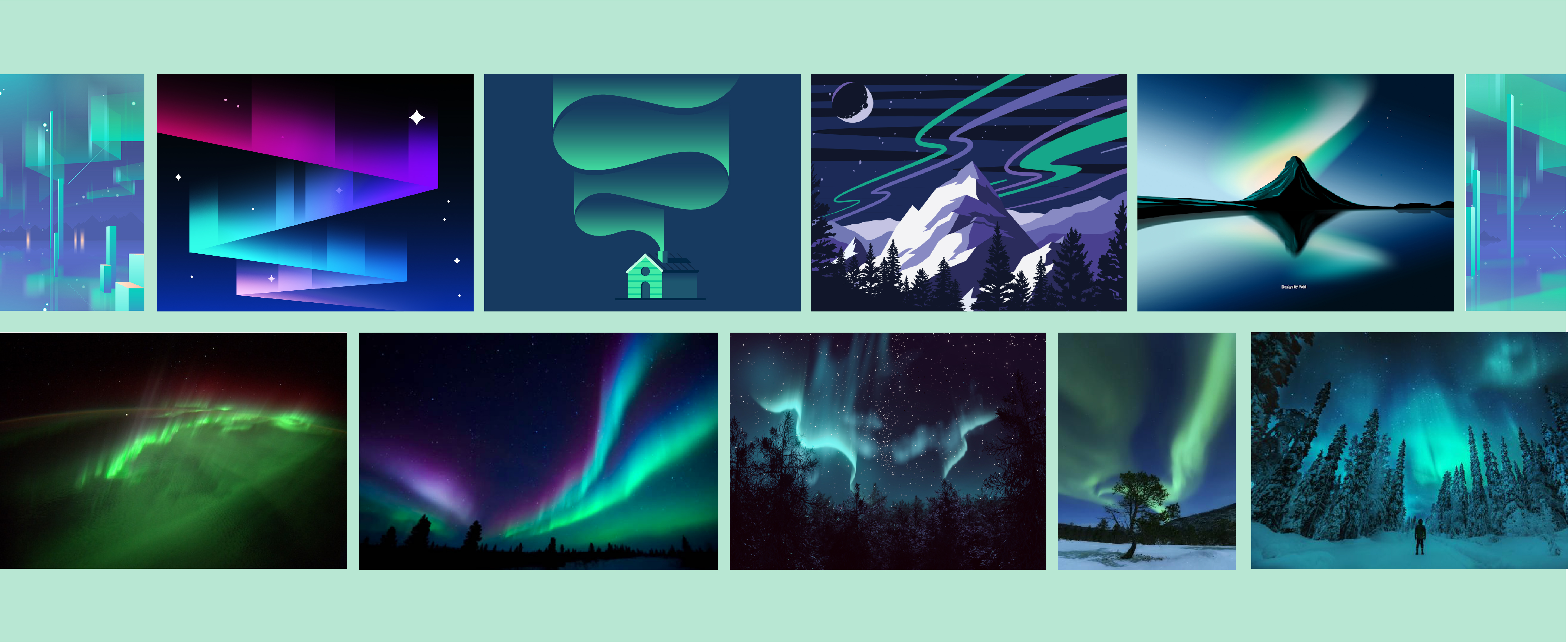 Collection of photographic and vector works taken from Pinterest, Behance, Dribbble