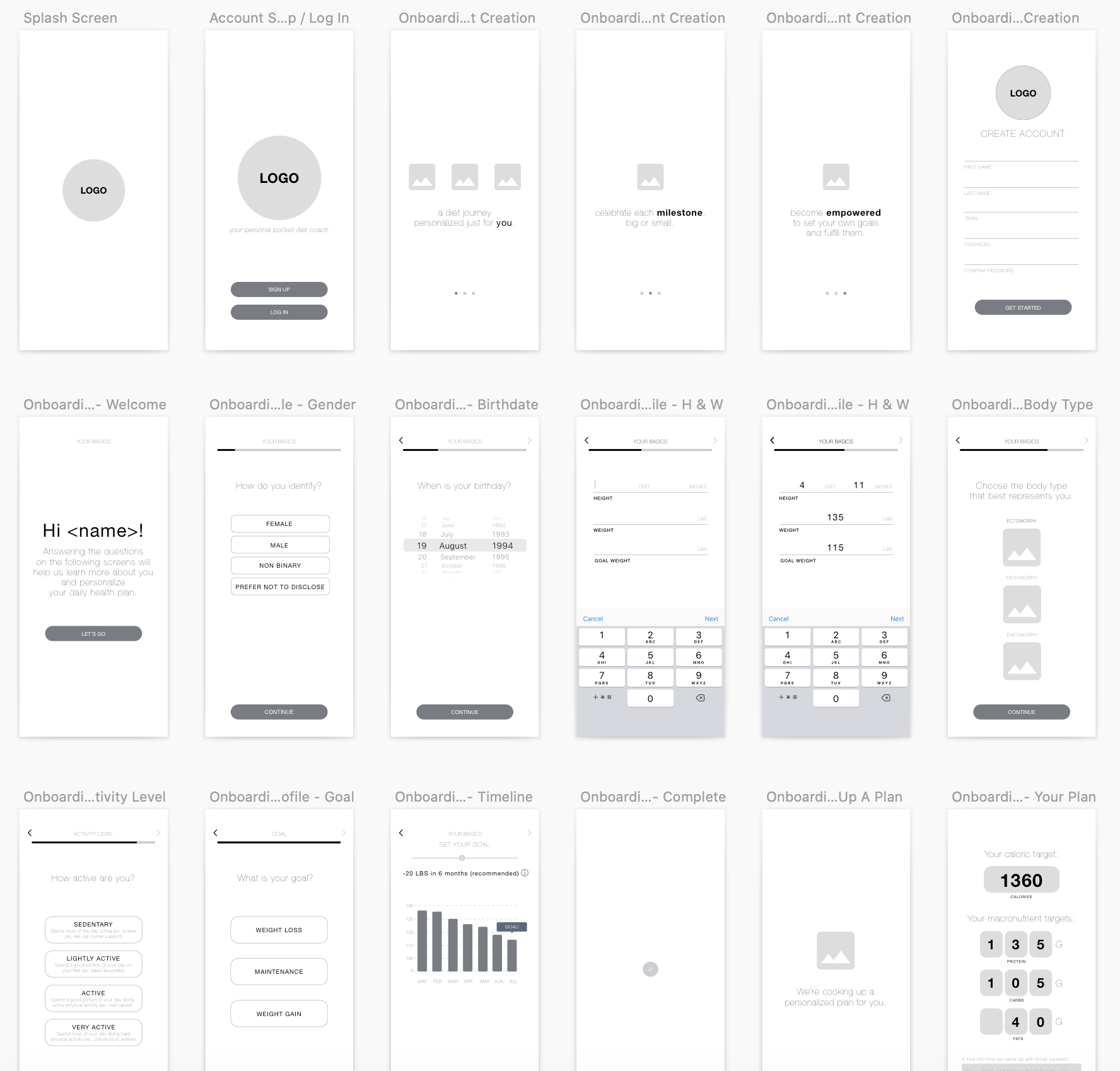 Wireframes for onboarding