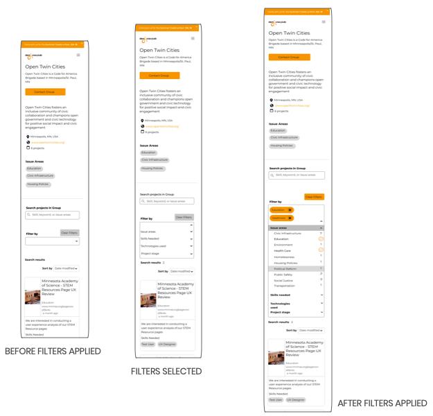 Mobile mockups- final iteration