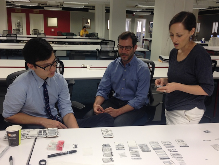 Usability testing with the paper prototype