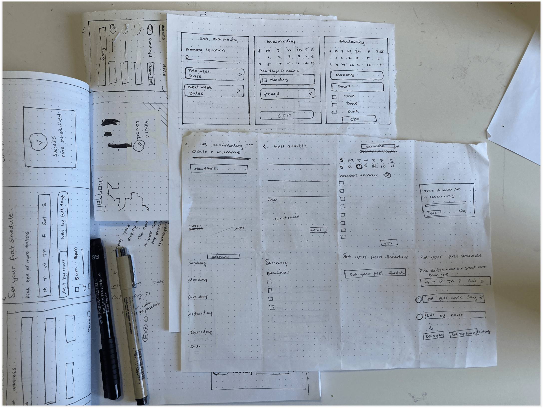 Fig 5: A few sketches exploring the visual layout of features