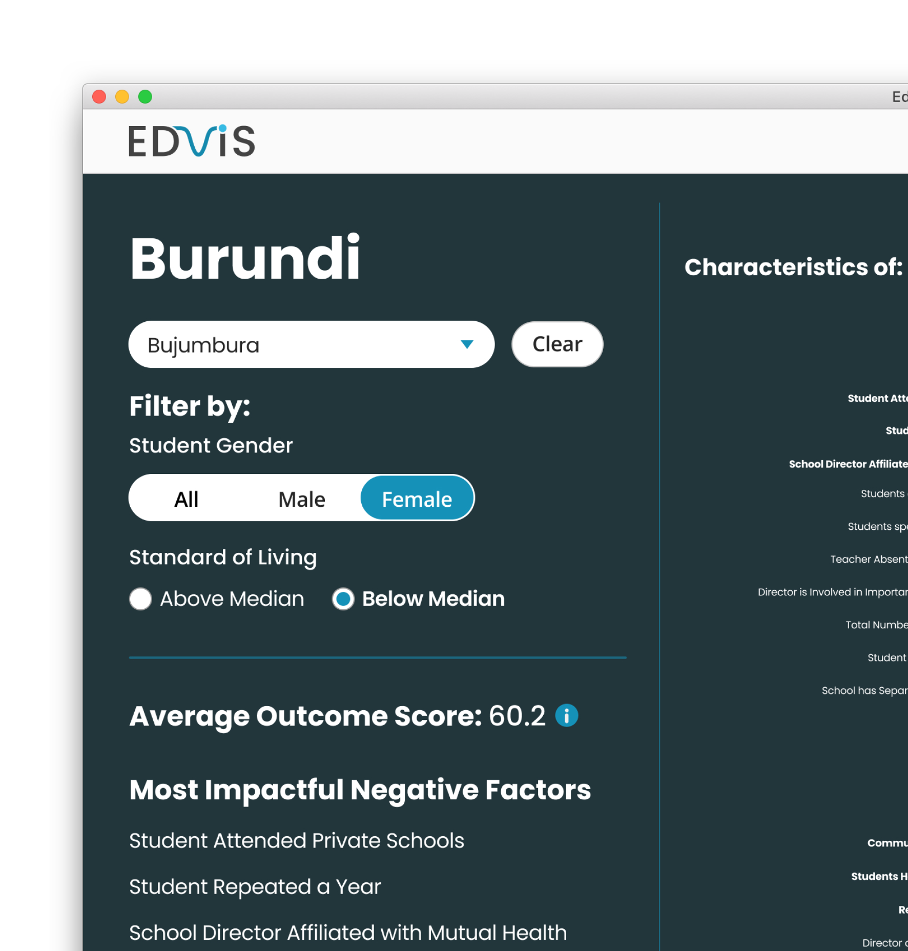 """I entered a UNESCO hackathon with some school colleagues  to create """"EdVis"""". An interactive dashboard that helps international education planners make sense of learning data towards actionable policies."""