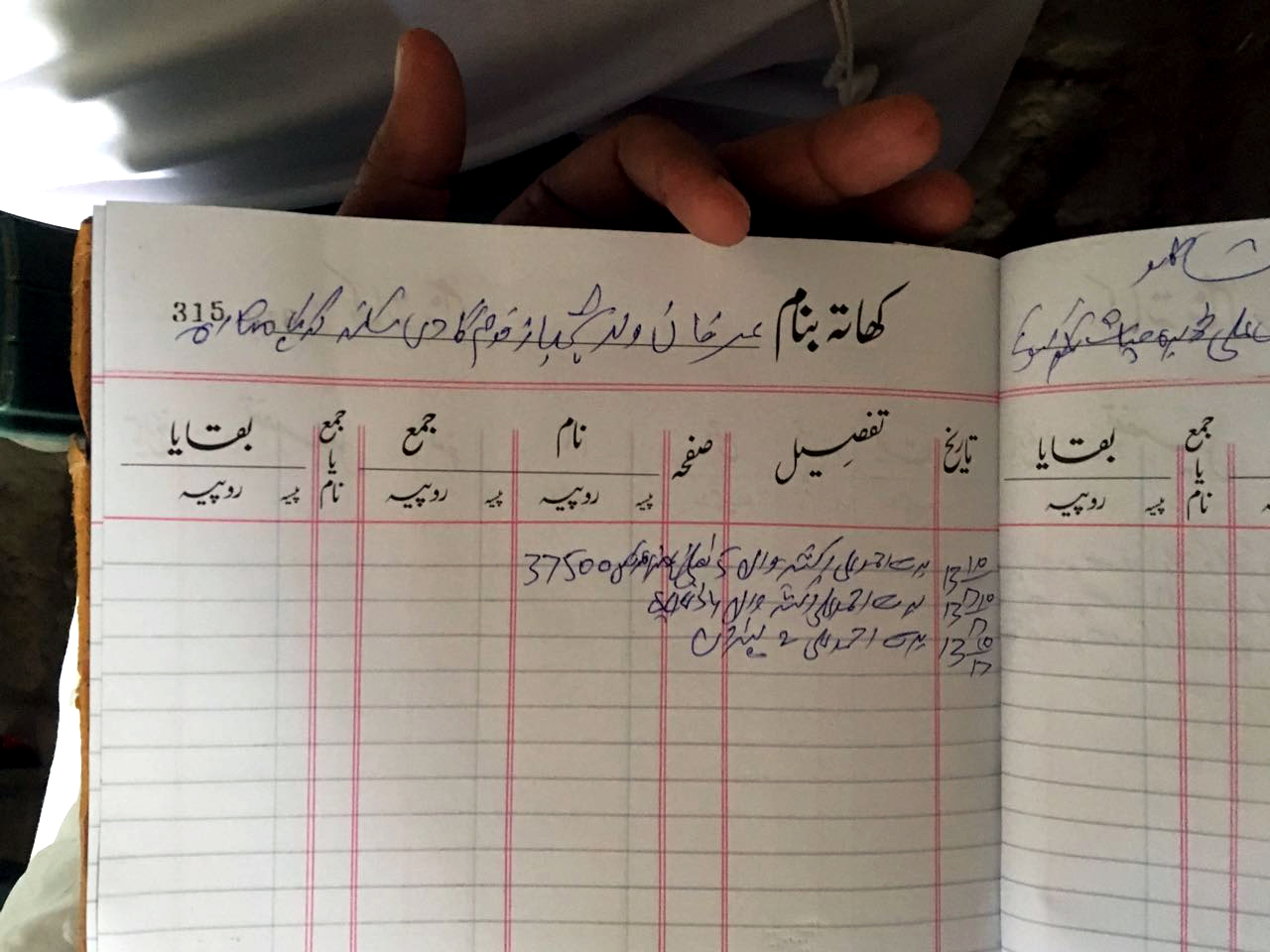 A typical financial record-keeping journal used throughout the Punjab (Pakistan)