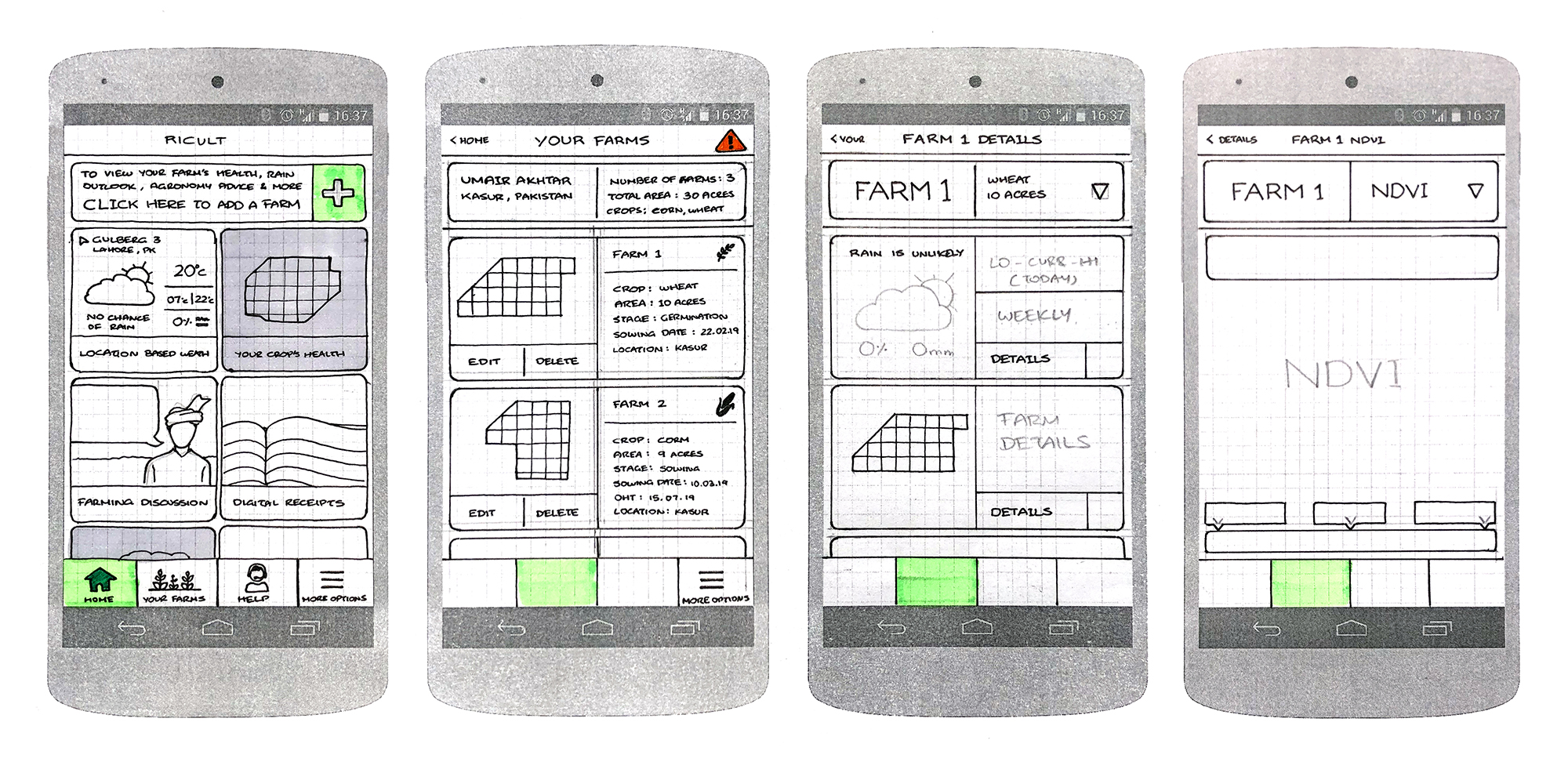 As more screens started taking shape, details were added, increasing the fidelity of our paper prototypes