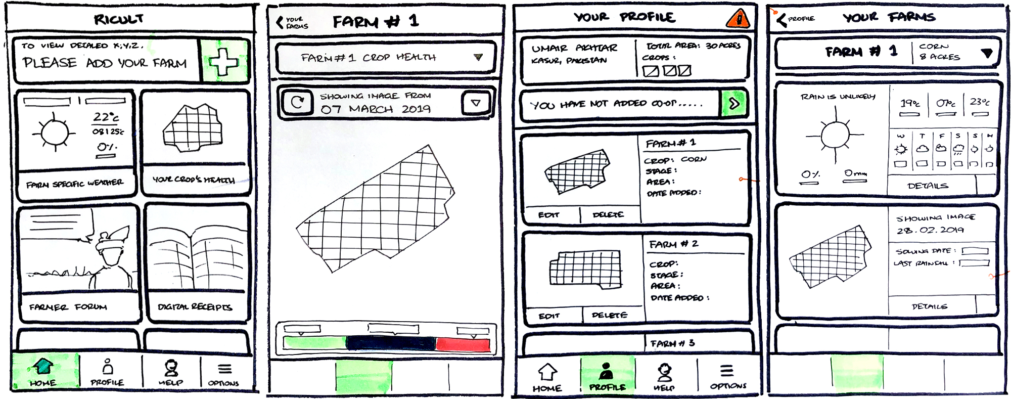 Once we had a good idea of what the major screens would have, I created testable paper prototypes of the major user journeys
