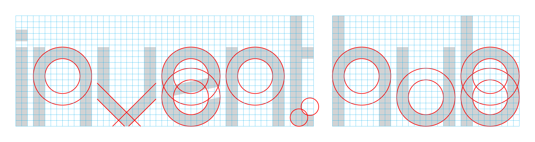 Customer logotype built from geometric shapes